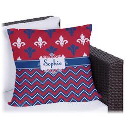 Patriotic Fleur de Lis Outdoor Pillow (Personalized)