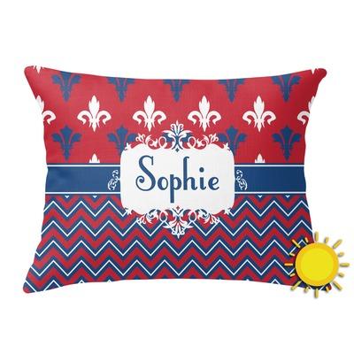 Patriotic Fleur de Lis Outdoor Throw Pillow (Rectangular) (Personalized)
