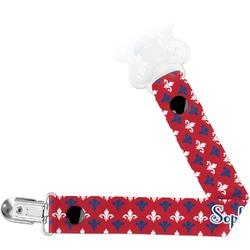 Patriotic Fleur de Lis Pacifier Clips (Personalized)