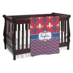 Patriotic Fleur de Lis Baby Blanket (Personalized)