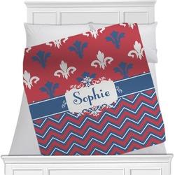 Patriotic Fleur de Lis Minky Blanket (Personalized)