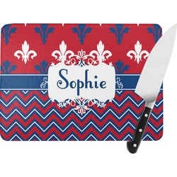 Patriotic Fleur de Lis Rectangular Glass Cutting Board (Personalized)