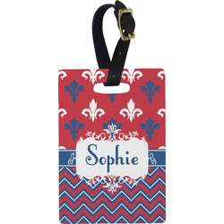 Patriotic Fleur de Lis Plastic Luggage Tag - Rectangular w/ Name or Text