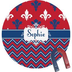 Patriotic Fleur de Lis Round Fridge Magnet (Personalized)