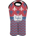 Patriotic Fleur de Lis Wine Tote Bag (2 Bottles) (Personalized)