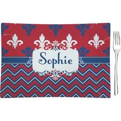 Patriotic Fleur de Lis Rectangular Glass Appetizer / Dessert Plate - Single or Set (Personalized)