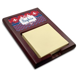 Patriotic Fleur de Lis Red Mahogany Sticky Note Holder (Personalized)