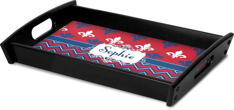 Patriotic fleur de lis black wooden tray personalized youcustomizeit - Fleur de lis serving tray ...