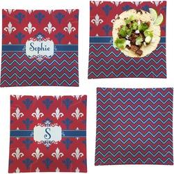 "Patriotic Fleur de Lis Set of 4 Glass Square Lunch / Dinner Plate 9.5"" (Personalized)"