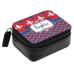 Patriotic Fleur de Lis Small Leatherette Travel Pill Case (Personalized)