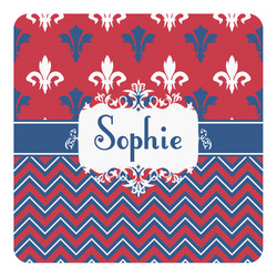 Patriotic Fleur de Lis Square Decal - Medium (Personalized)