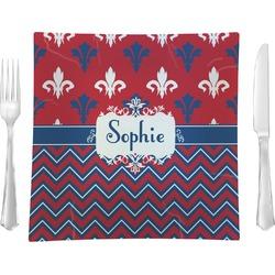 "Patriotic Fleur de Lis Glass Square Lunch / Dinner Plate 9.5"" - Single or Set of 4 (Personalized)"