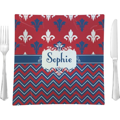 "Patriotic Fleur de Lis 9.5"" Glass Square Lunch / Dinner Plate- Single or Set of 4 (Personalized)"
