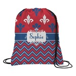 Patriotic Fleur de Lis Drawstring Backpack (Personalized)