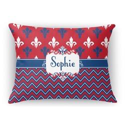 Patriotic Fleur de Lis Rectangular Throw Pillow Case (Personalized)