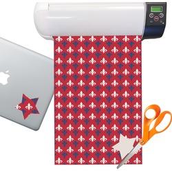 Patriotic Fleur de Lis Sticker Vinyl Sheet (Permanent)