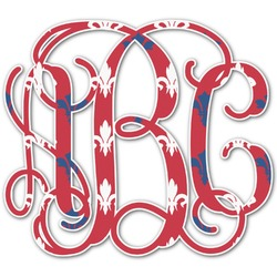Patriotic Fleur de Lis Monogram Decal - Custom Sized (Personalized)
