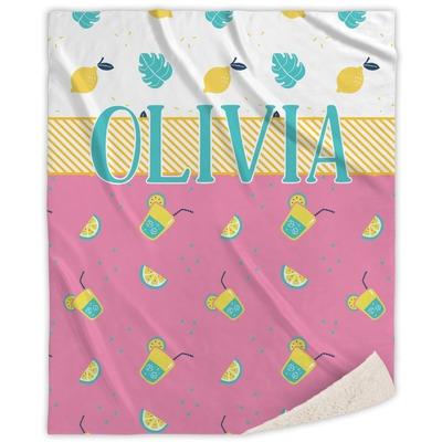 Summer Lemonade Sherpa Throw Blanket (Personalized)