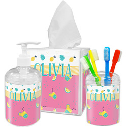 Summer Lemonade Acrylic Bathroom Accessories Set w/ Name or Text