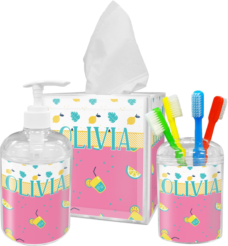 Summer lemonade bathroom accessories set personalized for Summer bathroom decor