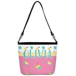 Summer Lemonade Bucket Bag w/ Genuine Leather Trim (Personalized)