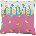 Summer Lemonade Faux-Linen Throw Pillow (Personalized)