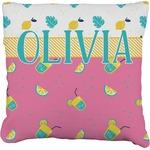 Summer Lemonade Faux-Linen Throw Pillow (Personalized)