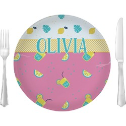 "Summer Lemonade 10"" Glass Lunch / Dinner Plates - Single or Set (Personalized)"