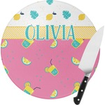 Summer Lemonade Round Glass Cutting Board (Personalized)