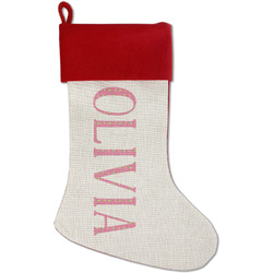 Summer Lemonade Red Linen Stocking (Personalized)