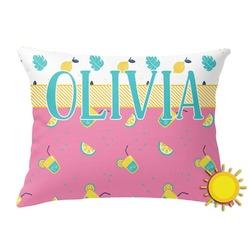 Summer Lemonade Outdoor Throw Pillow (Rectangular) (Personalized)