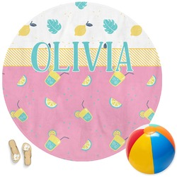 Summer Lemonade Round Beach Towel (Personalized)