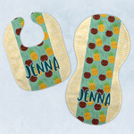Pineapples and Coconuts Baby Bib & Burp Set w/ Name or Text