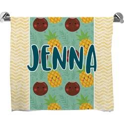 Pineapples and Coconuts Full Print Bath Towel (Personalized)