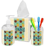 Pineapples and Coconuts Acrylic Bathroom Accessories Set w/ Name or Text