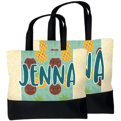 Pineapples and Coconuts Beach Tote Bag (Personalized)
