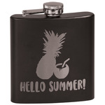 Pineapples and Coconuts Black Flask Set (Personalized)