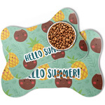Pineapples and Coconuts Bone Shaped Dog Food Mat (Personalized)