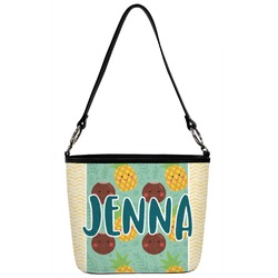 Pineapples and Coconuts Bucket Bag w/ Genuine Leather Trim (Personalized)