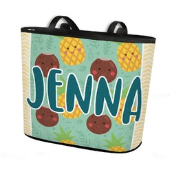 Pineapples and Coconuts Bucket Tote w/ Genuine Leather Trim (Personalized)