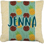 Pineapples and Coconuts Faux-Linen Throw Pillow (Personalized)