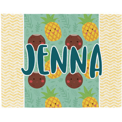 Pineapples and Coconuts Woven Fabric Placemat - Twill w/ Name or Text