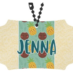 Pineapples and Coconuts Rear View Mirror Ornament (Personalized)