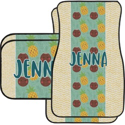 Pineapples and Coconuts Car Floor Mats Set - 2 Front & 2 Back (Personalized)