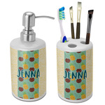 Pineapples and Coconuts Ceramic Bathroom Accessories Set (Personalized)