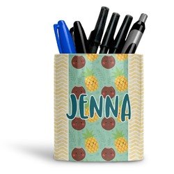 Pineapples and Coconuts Ceramic Pen Holder