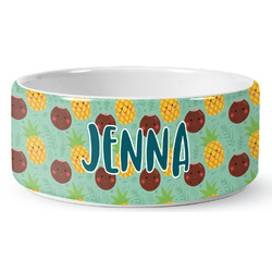 Pineapples and Coconuts Ceramic Dog Bowl (Personalized)