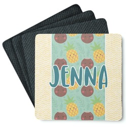 Pineapples and Coconuts 4 Square Coasters - Rubber Backed (Personalized)
