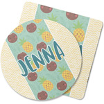 Pineapples and Coconuts Rubber Backed Coaster (Personalized)