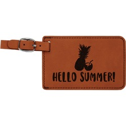 Pineapples and Coconuts Leatherette Luggage Tag (Personalized)